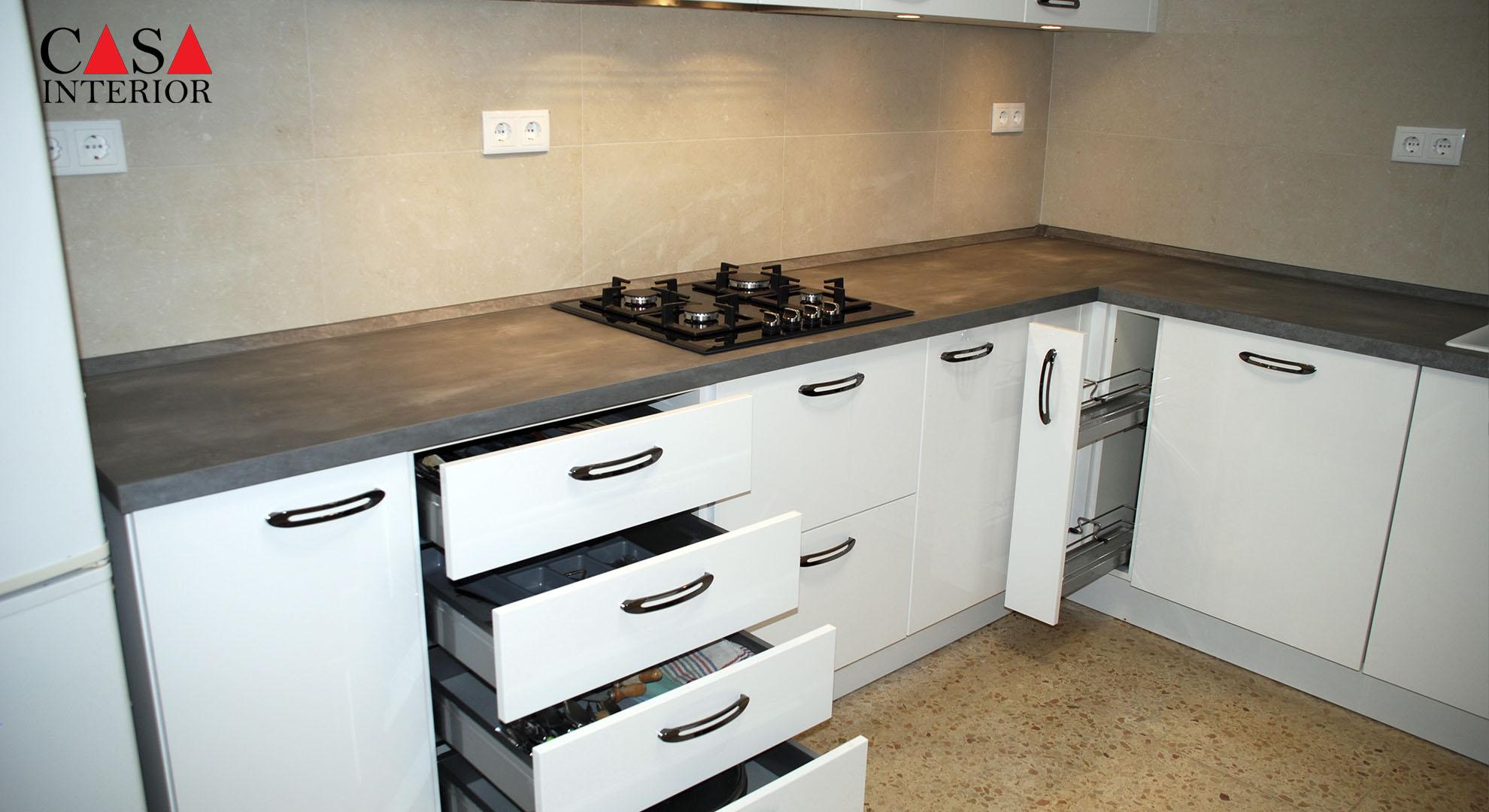 Küchentime Flash Alpine White High Gloss Alfaz del Pi - Drawer nit