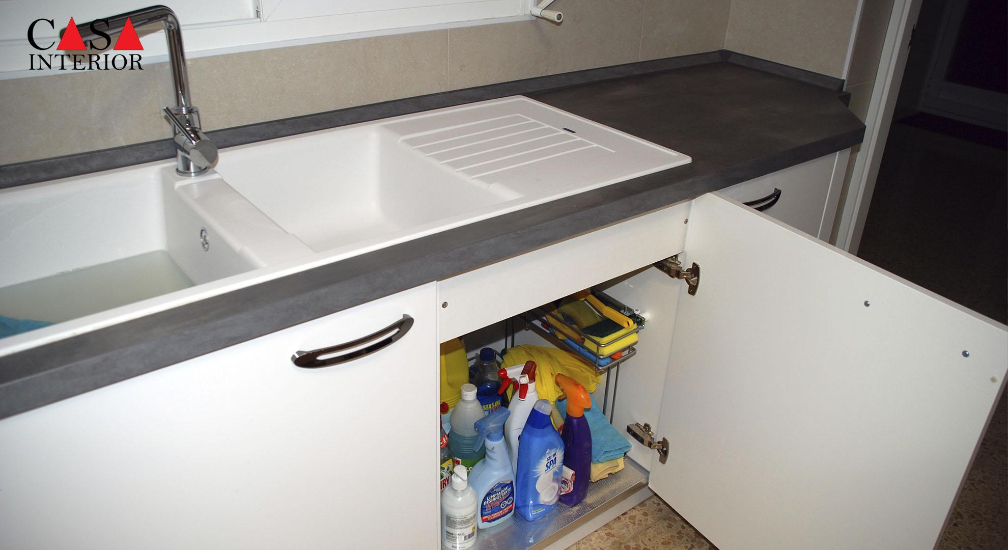 Küchentime Flash Alpine White High Gloss Alfaz del Pi - Sink Unit