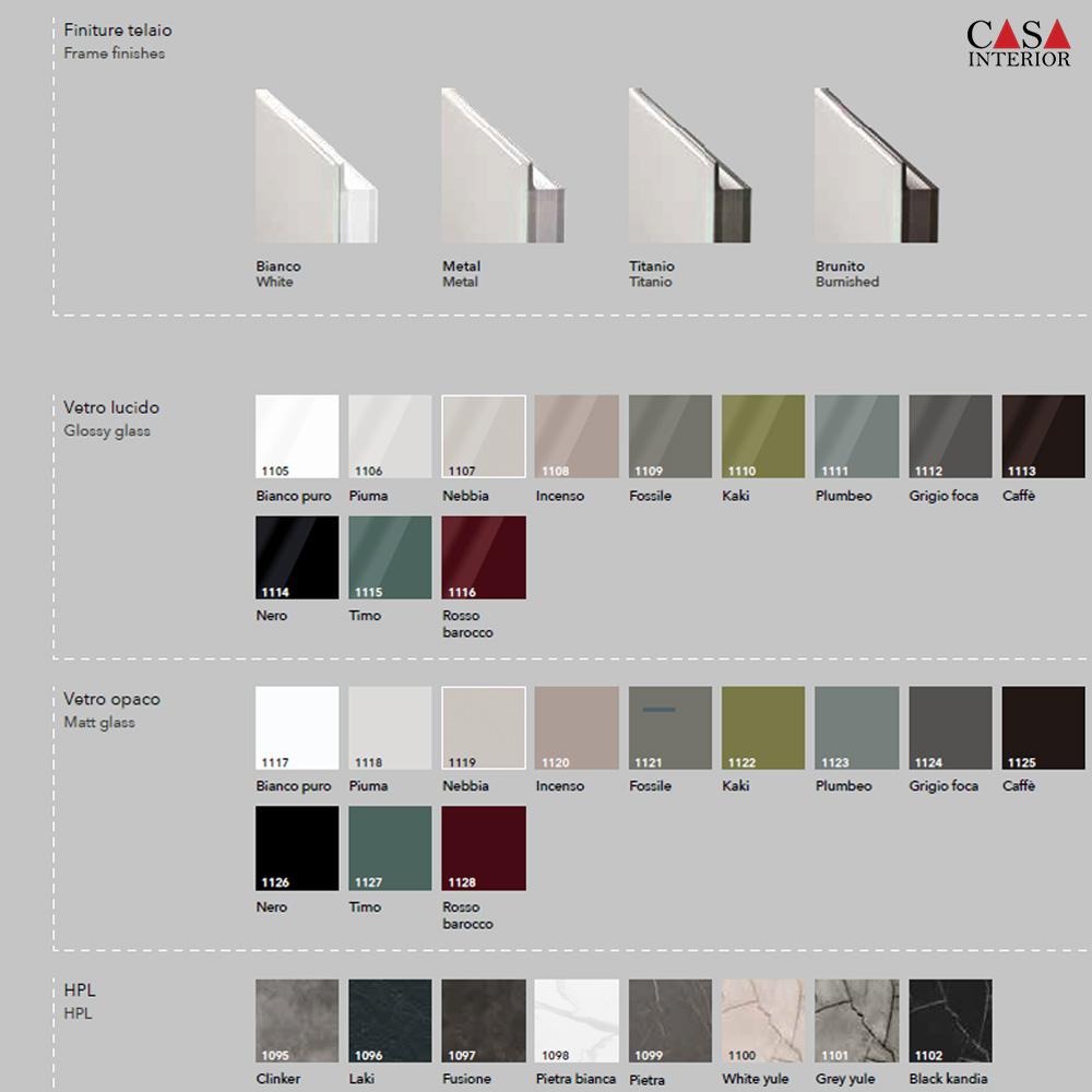 Arredo3 Glass 2.0 - Available finishings and colors