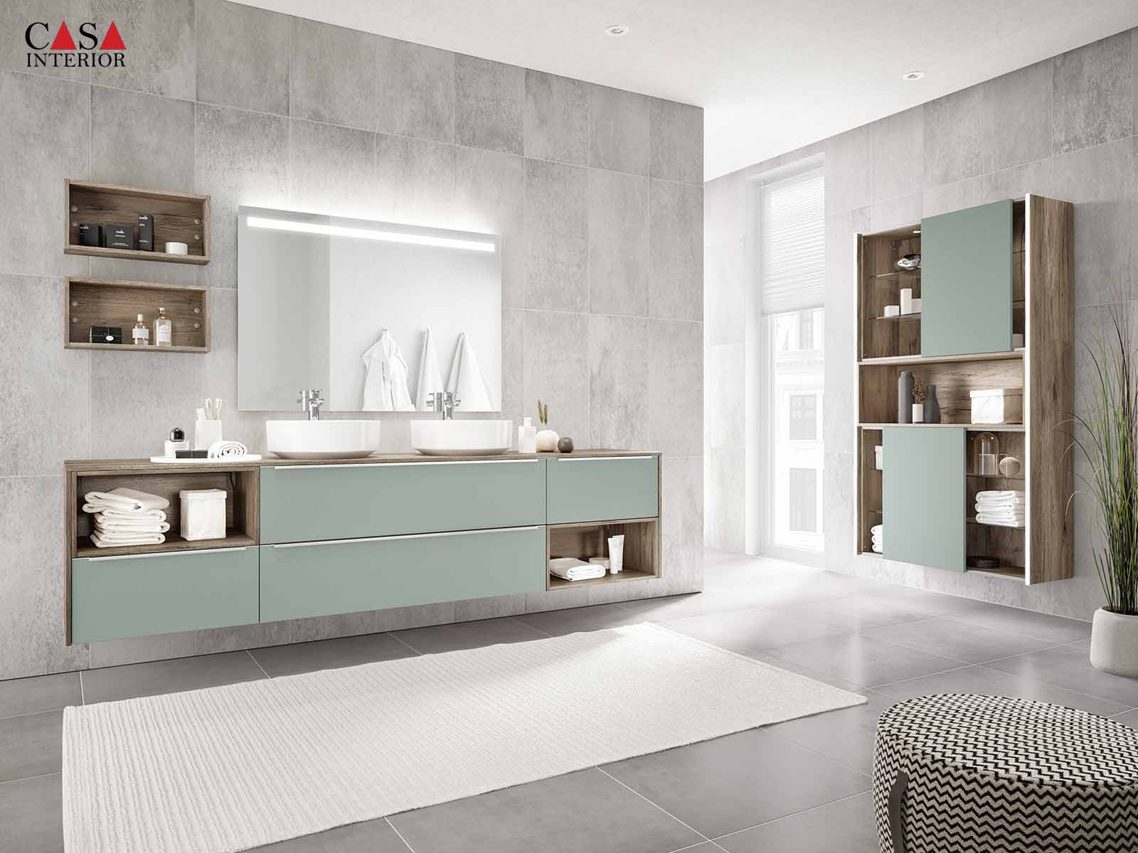 Küchentime Touch Lacquered laminate, aqua supermatt 337 - Bathroom