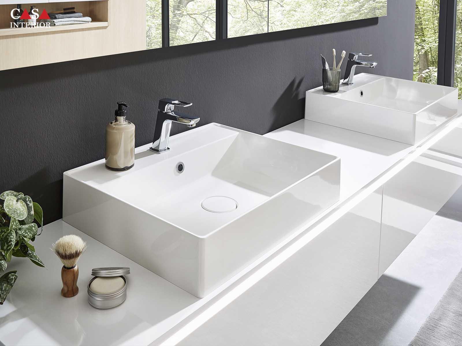 Küchentime Lux Lacquer, alpine white high gloss 817 - Flash Lacquered laminate, alpine white high gloss 503 - Bathroom